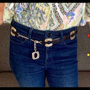 Brighton silver link, chain and leather belt M